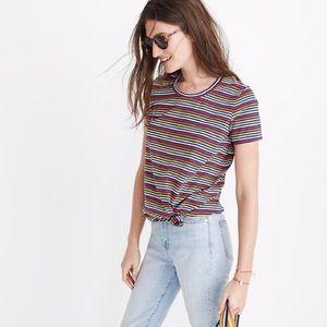 NWT MADEWELL Rainbow Stripe Knot-Front Tee, XS